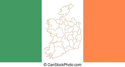Map and flag of Ireland