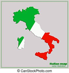 Map and flag of Italy.