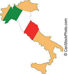Map and Flag of Italy Vector EPS