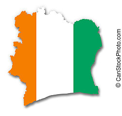 Map and flag of Ivory Coast - A 2D illustration of a map ...