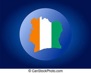 map and flag of Ivory coast globe illustration