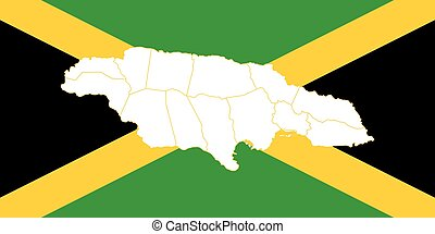 Map and flag of Jamaica