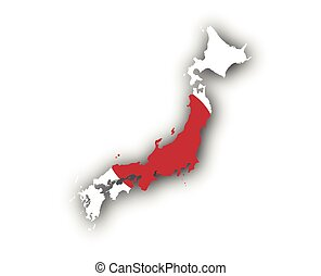 Map and flag of Japan