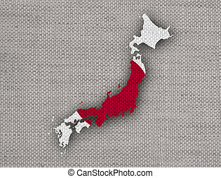 Map and flag of Japan on old linen