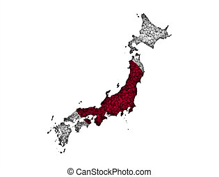Map and flag of Japan on poppy seeds