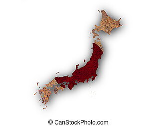 Map and flag of Japan on rusty metal