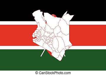 Map and flag of Kenya