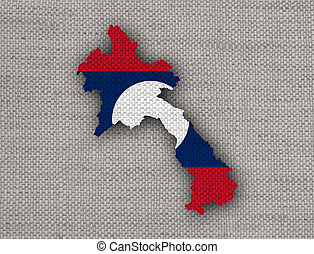 Map and flag of Laos on old linen