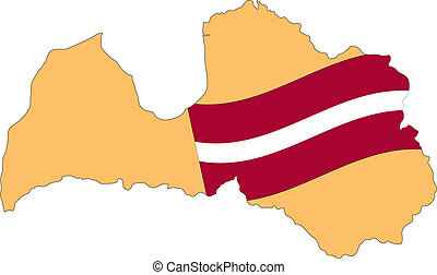 Map and Flag of Latvia Vector EPS