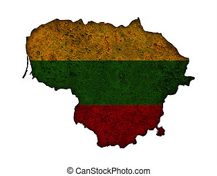 Map and flag of Lithuania on rusty metal