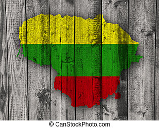 Map and flag of Lithuania on weathered wood