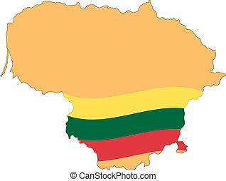 Map and Flag of Lithuania Vector EPS