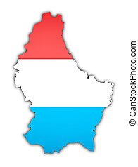 luxembourg - map and flag of luxembourg on white background
