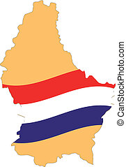 Map and Flag of Luxembourg Vector EPS