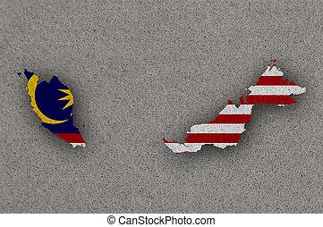 Map and flag of Malaysia on felt