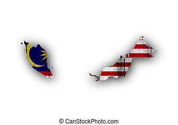 Map and flag of Malaysia on weathered wood