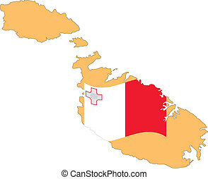 Map and Flag of Malta Vector EPS