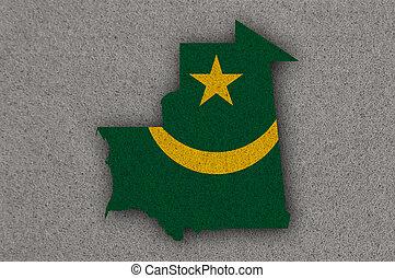 Map and flag of Mauritania on felt