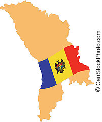 Map and Flag of Moldova Vector EPS