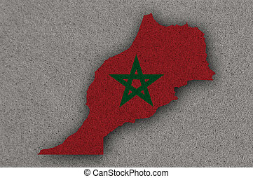 Map and flag of Morocco on felt