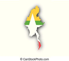 Map and flag of Myanmar