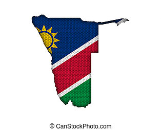 Map and flag of Namibia on old linen