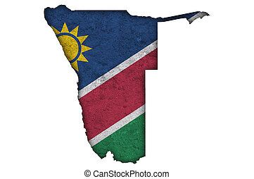 Map and flag of Namibia on weathered concrete