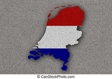 Map and flag of Netherlands on felt