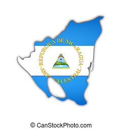 map and flag of nicaragua with shadow on white background