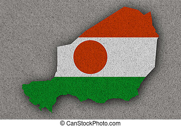 Map and flag of Niger on felt
