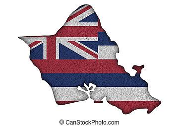 Map and flag of Oahu on felt