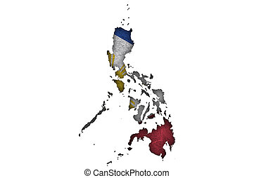 Map and flag of Philippines on weathered concrete