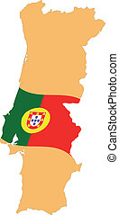 Map and Flag of Portugal Vector EPS