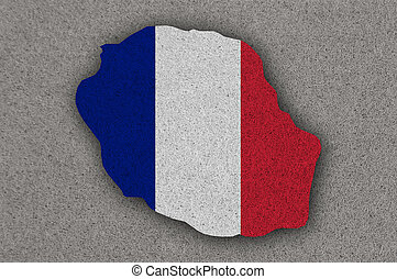 Map and flag of Reunion on felt