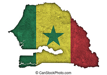 Map and flag of Senegal on weathered concrete