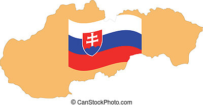 Map and Flag of Slovakia Vector EPS