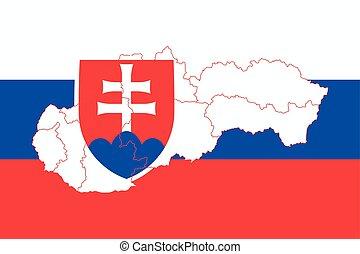 Map and flag of Slovakia