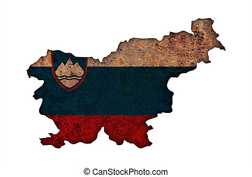 Map and flag of Slovenia on rusty metal