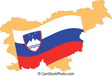 Map and Flag of Slovenia Vector EPS