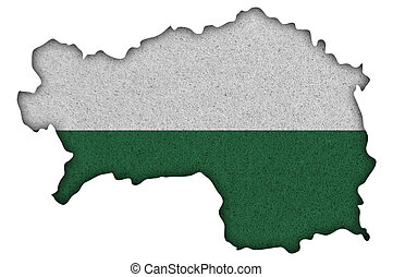 Map and flag of Styria on felt