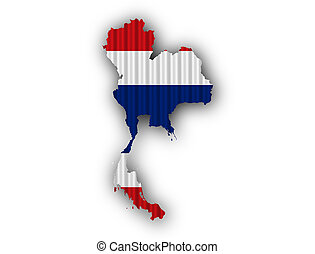 Map and flag of Thailand on corrugated iron