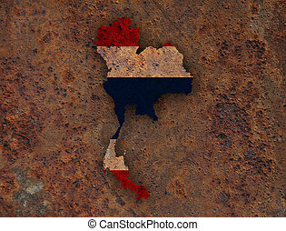 Map and flag of Thailand on rusty metal
