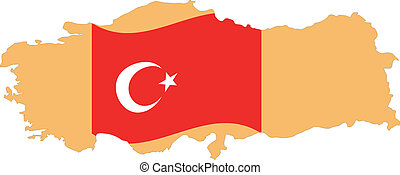 Map and Flag of Turkey Vector EPS