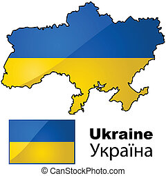 Map and flag of Ukraine - Glossy flag of Ukraine placed on...
