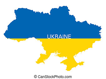map and flag of Ukraine