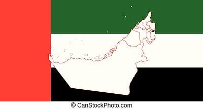Map and flag of United Arab Emirates