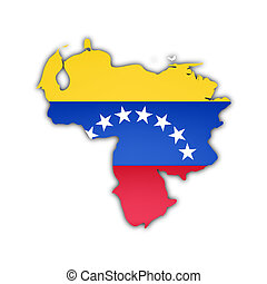 map and flag of venezuela with shadow on white background