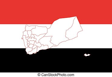 Map and flag of Yemen