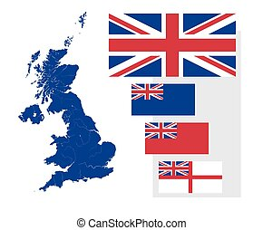 Map and flags of the United Kingdom