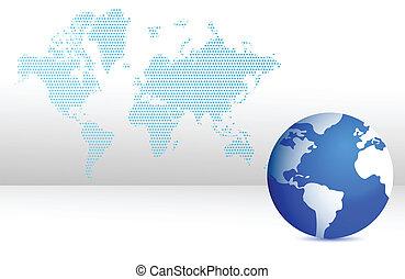 map and globe illustration design